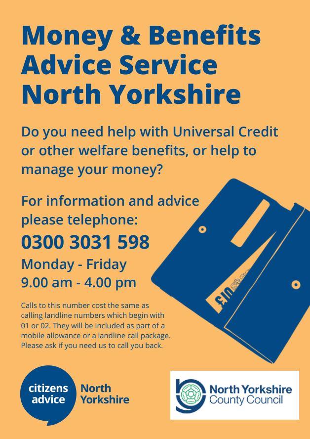 Money & Benefits Advice Service North Yorkshire Poster